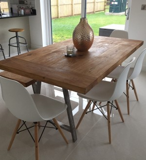 Oak Table with Metal Legs