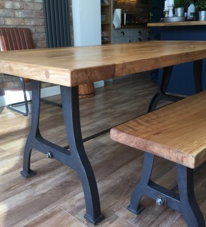 Solid Oak Table Cast Iron Legs